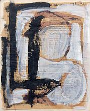 Franz KLINE (1910 - 1962) SANS TITRE Gouache et huile sur page d'annuaire téléphonique contrecollé sur carton