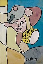 Gaston CHAISSAC (1910 - 1964) PERSONNAGE - 1959 Huile sur papier marouflé sur toile