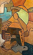 Gaston CHAISSAC (1910 - 1964) COMPOSITION - 1961 Huile sur papier marouflé sur toile