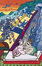 Gudmundur ERRO (Né en 1932) LE TRAIN DE BOMBAY - 1978 Peinture glycérophtalique sur toile