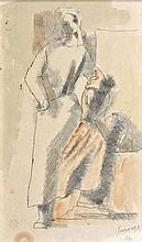 Léopold SURVAGE (1879 - 1968) FEMME AU PANIER - 1926 Crayon et aquarelle sur papier