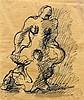 Jacques LIPCHITZ (1891 - 1973) MATERNITE Encre et lavis d'encre sur papier