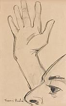 Francis PICABIA (1879 - 1953) TETE ET MAIN - Circa 1940-1942 Fusain sur papier
