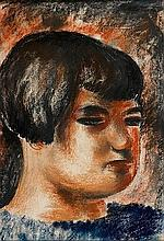 Jean FAUTRIER (1898 - 1964) FEMME A LA FRANGE DE TROIS QUART - 1925 Pastel sur papier