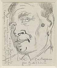 Giorgio DE CHIRICO (1888 - 1978) PORTRAIT DE CASTAGNOU Crayon sur papier