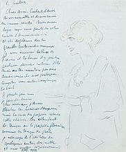 Kees VAN DONGEN (1877 - 1968) UNE MONDAINE - 1919 Crayon et crayons de couleurs sur papier à lettre bleu,