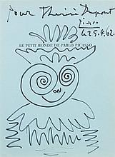 Pablo PICASSO (1881 - 1973) TÊTE HUMORISTIQUE - 1962 Feutre sur page de livre