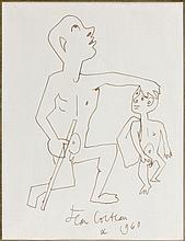 Jean COCTEAU (1889 - 1963) FUMEUR D'OPIUM ET ENFANT - 1960 Encre sur papier