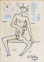 Jean COCTEAU (1889 - 1963) FAUNE MUSICIEN - 1959 Marker et pastel sur papier