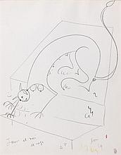 Jean COCTEAU (1889 - 1963) SPHINGE SALUANT BIEN BAS - Circa 1960 Crayon gras et crayons de couleurs sur papier