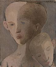 Pavel TCHELITCHEW (1898 - 1957) TROIS TETES - 1925 Huile sur toile