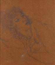 Léonard Tsuguharu FOUJITA (1886 - 1968) BUSTE DE FEMME ALLONGEE (SYLVAINE) - 1929 Crayon sur papier marouflé sur carton