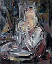 Maria BLANCHARD (1881 - 1932) JEUNE ASSIS A TABLE FACE A UNE TASSE - 1931-1932 Huile sur toile