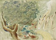 Francisco BORES (1898 - 1972) SANS TITRE OU LE REPOS SOUS L'ARBRE - 1930 Huile sur toile