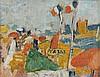 Jean Puni dit POUGNY (1892 - 1956) PLAGE - Circa 1952-1955 Huile sur toile
