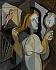 Youla CHAPOVAL (1919 - 1951) JEUNE FILLE DEVANT SON MIROIR - 1945 Huile sur toile
