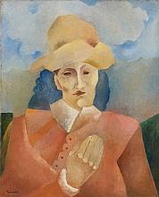 Manuel RENDON (1894 - 1980) FIGURE AU CHAPEAU Huile sur toile