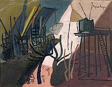 Suzanne ROGER (1899 - 1986) VACANCES - 1958 - LE LION - 1953 Ensemble de deux huiles sur toile