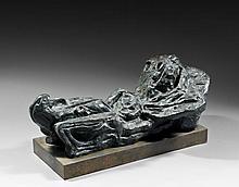 André MASSON (1896 - 1987) FEMME FEUILLE - 1943 Bronze à patine grise