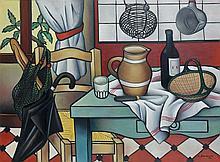 Georges BAUQUIER (1910 - 1997) COIN DE CUISINE - 1954 Huile sur toile