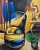 Georges BAUQUIER (1910 - 1997) FAUTEUIL AU CHAT Huile sur toile