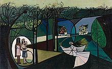 Oscar DOMINGUEZ 1906 - 1957 JOUANT DANS LE PARC - 1944 Huile sur toile