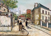 Maurice UTRILLO 1883 - 1955 RUE RAVIGNAN - 1924 Huile sur toile