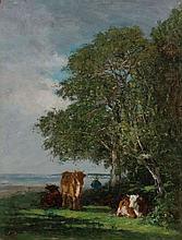 Eugène BOUDIN 1824 - 1898 ENVIRONS DE HONFLEUR - Circa 1854-1858 Huile sur panneau