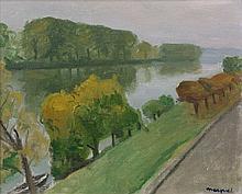 Albert MARQUET 1875 - 1947 LA SEINE A LA FRETTE, TEMPS GRIS Huile sur carton toilé