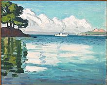 Albert MARQUET 1875 - 1947 LE BATEAU BLANC, PORQUEROLLES - 1939 Huile sur carton toilé