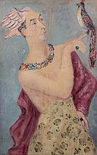 Léonor FINI 1908 - 1996 TRAVESTI A L'OISEAU - HERMES (PORTRAIT D'ANDRE PIEYRE-DE-MANDIARGUES) - 1932 Huile sur toile