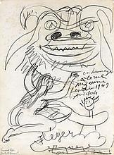 Fernand LEGER 1881 - 1955 HOMMAGE A LA RUE MAZARINE - 1949 Crayon sur papier