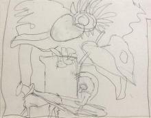 Fernand LEGER 1881 - 1955 SOLEIL, CHARRETTE ET FLEUR - 1955 Crayon sur papier