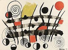 Alexander CALDER 1898 - 1976 COMPOSITION - 1956 Gouache sur papier