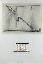 Gérard TITUS-CARMEL (Né en 1942) AGNES ET BIFFURES (DESSIN IV) - 1976 Crayon, technique mixte et collage sur carton