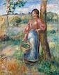 ¤ Pierre-Auguste RENOIR (Limoges, 1841 - Cagnes-sur-mer, 1919) LA PAYSANNE AU PANIER, circa 1902 Huile sur toile