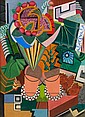 Auguste HERBIN (Qiuévy, 1882 - Paris, 1960) NATURE MORTE AUX POTS DE FLEURS, 1918 Huile sur toile