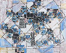 Natalia DUMITRESCO (1915-1997) NOIR ET BLEU - 1987 Huile sur toile