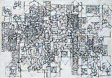 Natalia DUMITRESCO (1915-1997) VILLE BLANCHE - 1981 Huile sur toile