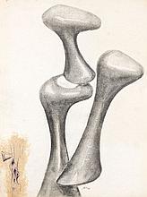 Augustin CARDENAS (né en 1927) COMPOSITION - 1975 Fusain et feutre sur papier