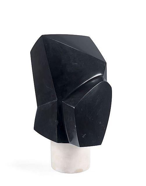 Emile GILIOLI (1911-1977) LE CAVALIER NOIR - 1960 Marbre noir et blanc