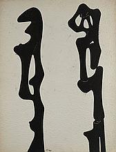 Augustin CARDENAS (né en 1927) COMPOSITION - 1970 Encre de Chine sur papier