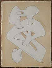 Augustin CARDENAS (né en 1927) COMPOSITION - 1973 Gouache, feutre, lavis d'encre et mine de plomb sur papier