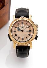 BREGUET MARINE ROYAL, réf. 5847, n° 4124, vers 2011 Grande montre bracelet réveil en or rose 18K (750). Boîtier rond. Fond saphi...