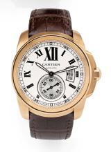CARTIER CALIBRE, n° 108918QX/300, vers 2012 Grande montre bracelet en or rose 18K (750). Boîtier rond. Fond saphir. Couronne de...