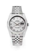 ROLEX DATEJUST, réf. 116234, vers 2014 Montre bracelet en acier. Boîtier rond. Couronne et fond vissés. Lunette striée or blanc....