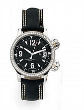 JAEGER LECOULTRE MASTER COMPRESSOR, vers 2004 Belle montre bracelet de dame en acier. Boîtier rond. Lunette sertie de diamants....