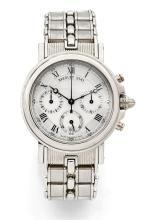 BREGUET MARINE, réf. 3460PT, n° 6141, vers 1991 Rare et beau chronographe bracelet en platine (950). Boîtier rond, carrure canne...