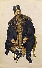 PORTRAIT DE NASREDDIN SHAH, ART QAJAR, 19ESIÈCLE
