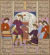 ENTRETIEN ROYAL, IRAN, ÉCOLE SAFAVIDE D'ISPAHAN, 2E MOITIÉ DU 17E SIÈCLE